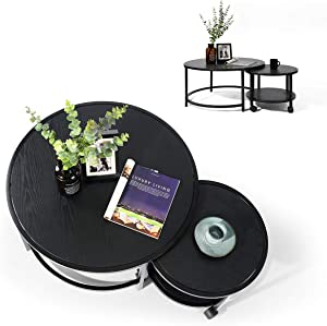 HOMEMAKE 2Pcs/Set Round Modern Furniture Decor Side Coffee Table for Living Room, Balcony and Office