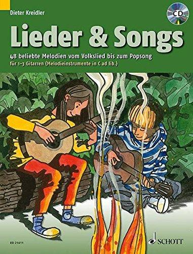 Lieder & Songs: 48 beliebte Melodien vom Volkslied bis zum Popsong. 1-3 Gitarren (Melodie-Instrumente in C ad libitum). Ausgabe mit CD. (Kreidler Gitarrenschule)