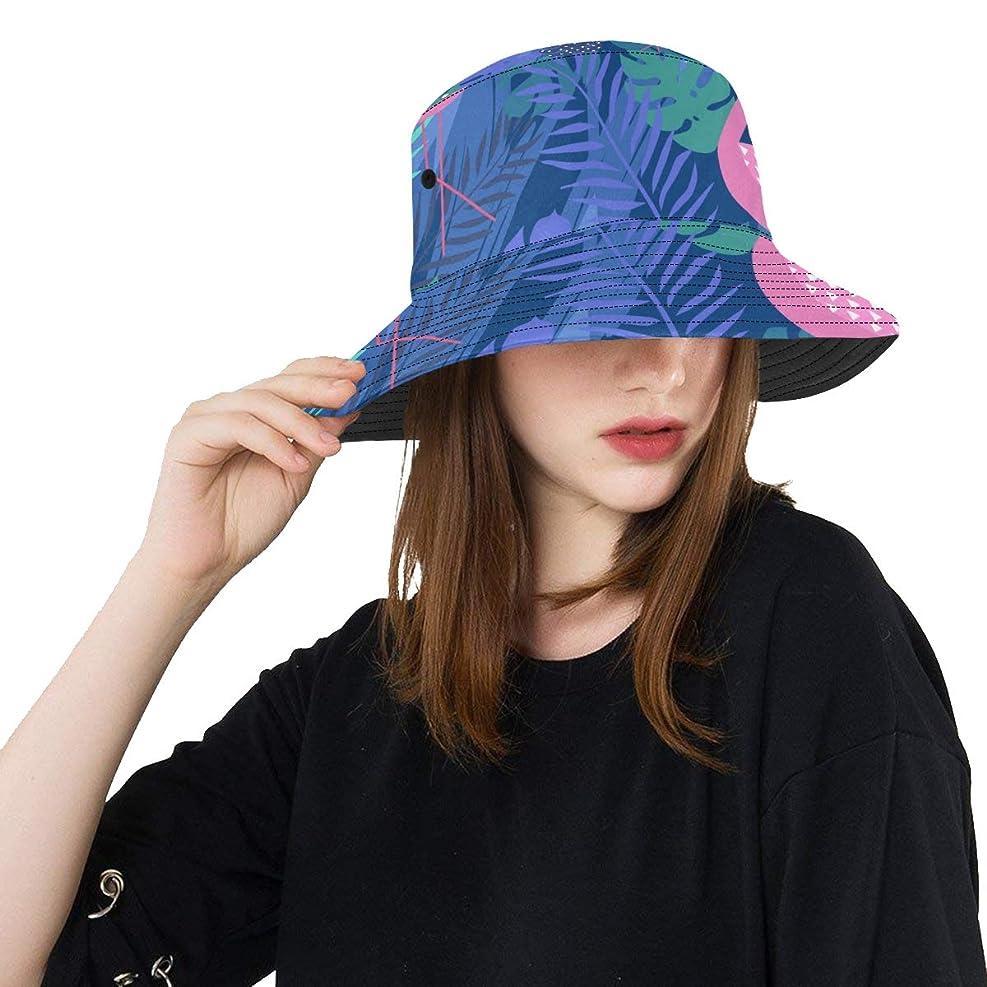 強制的住む知っているに立ち寄るCYDBQ Uvカット帽子 青いフラミンゴやパームの葉 バケットハット サンバイザー 日よけ 日焼け止め レディース 女子 綿 つば広 おしゃれ 折りたたみ 春夏 ストローハット アウトドア 旅行 トラベル 紫外線対策 遮光 吸汗速乾 小顔効果抜群