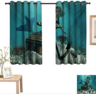 Superlucky Mermaid Blackout Draperies for Bedroom Mermaid in Ocean Sea Discovering Pirates Treasure Chest Mythical Art Print 63