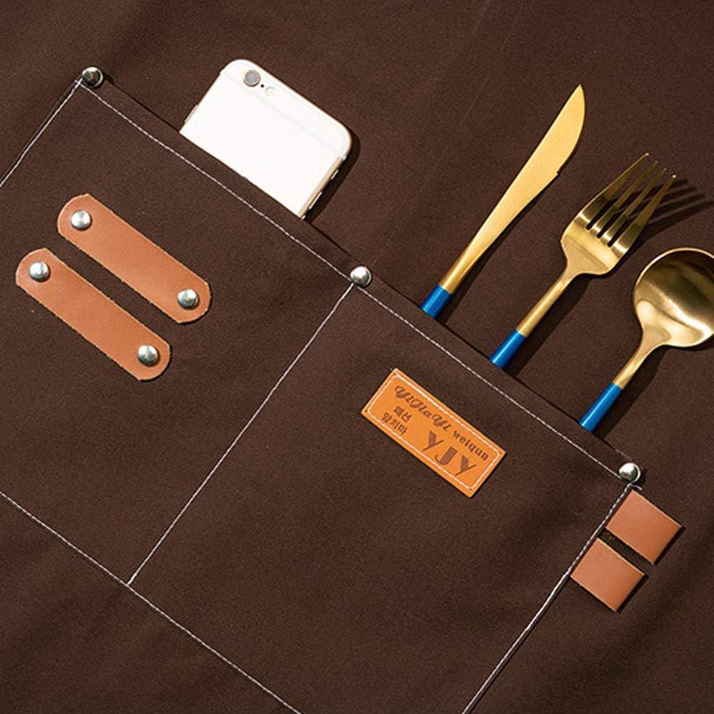 Watwass Unisexe Tabliers Barbecue avec Poches Lavable Tablier de Cuisine Travail Tablier Noir Serveurs