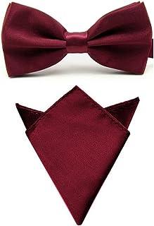 Men Satin Solid Color Pre-tied Tuxedo Bowtie Bow Tie Handkerchief Pocket Square Set (Dark Red)