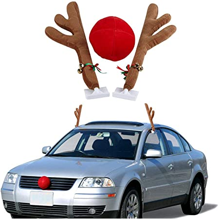 Holiday Car Window Decor Rooftop Antlers and Auto Grill Red Nose Decor for Car Christmas Car Decorations Reindeer Kit