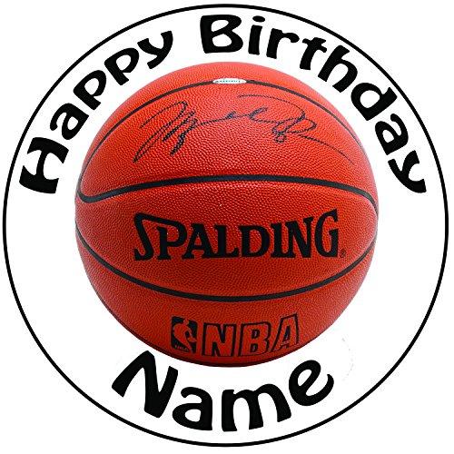 Personalisierter Basketball Zuckerguss Kuchen Topper / Kuchendekoration - 20 cm Großer Kreis - Jeder Name Und Jedes Alter