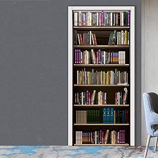 PVC Door Sticker Vintage Wood Bookshelf Bar Counter Wall Decals Mural 3D Decor