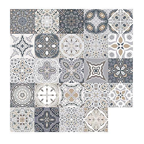 24 Piezas Pegatinas de Azulejos, Calcomanías de Azulejos Mosaico Retro Estilo Marroquí Autoadhesivo Azulejo Transferencias Pegatinas DIY Para Cocina Baño Decoración del Hogar (20 x 20 cm, 72PCS)