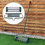COSTWAY Lawn Spike Aerators - Manual Grass Roller, Rotary Push Tine Rolling Tool for Yard, Garden, Premium Steel Materials, Non-slip handle, Easy to Install, Heavy Duty