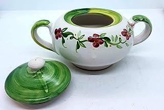 Zuccheriera Linea Verde Fiori Rosa Realizzata e Dipinta a mano Le Ceramiche del Castello Made in Italy 16 x 9 cm