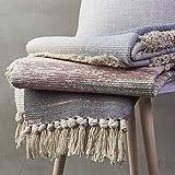 SHACOS 2er Set Teppich Baumwolle Waschbar Gewebt Teppich Vintage Grau Baumwollteppich Flur Teppich für Wohnzimmer Eingang Badezimmer 60x90cm+60x130cm - 7