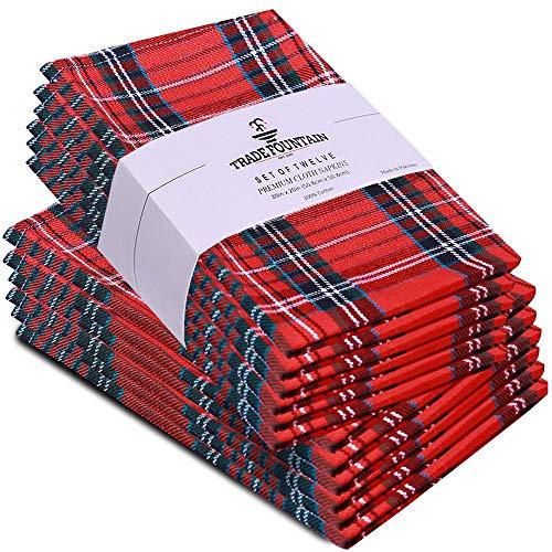 Trade Fountain Stoffservietten 12er-Set Baumwolle - 50 x 50 cm Wiederverwendbare Servietten - Übergroße Baumwollservietten aus reiner Baumwolle - Verwendung als Servietten (Y/D MT, Servietten)