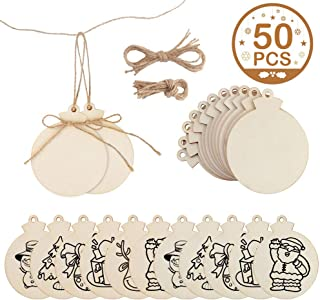 OurWarm 50pcs Round Wooden Ornaments Unfinished with Hole, 4