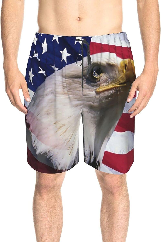 Men's Swim Trunks Bald Eagle American Flag Swim Boardshorts Quick Dry Cool Summer Boardshorts with Lining