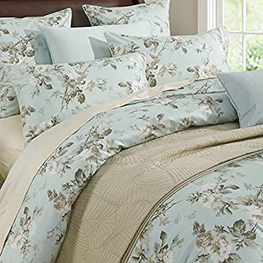 Brandream French Country Garden Toile Floral Printed Duvet Quilt Cover Cotton Bedding Set Asian Style Tapestry Pattern Chinoiserie Peony Blossom Tree Branches Multicolored Design (Queen,Mint Green)