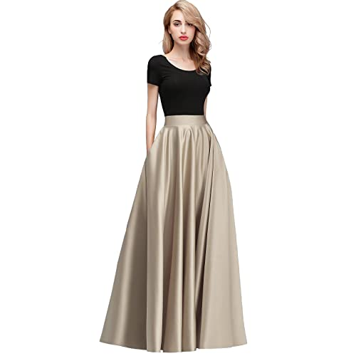 205ce17c0ae8 Honey Qiao Women s Satin Long Floor Length High Waist Fomal Prom Party  Skirts with Pockets