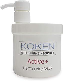 KOKEN - Active+ Crema Anticelulítica Reductora Efecto Frío/Calor 500ml - Efecto Reafirmante y Acción Quemagrasas