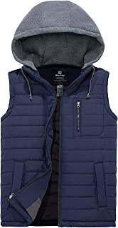 Wantdo Men`s Puffer Vest Warm Sleeveless Winter Jacket with Detachable Hood