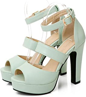 Fashion-Sex Women Sandals Shoes Woman Thick High Heels Peep Toe Gladiator Cut Outs Summer Shoes Ankle Strap Platform Shoes