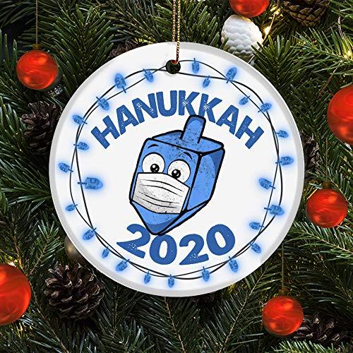 Lplpol Funny Dreidel Wearing Mask Jewish Hanukkah 2020 Ornament Holiday Decoration
