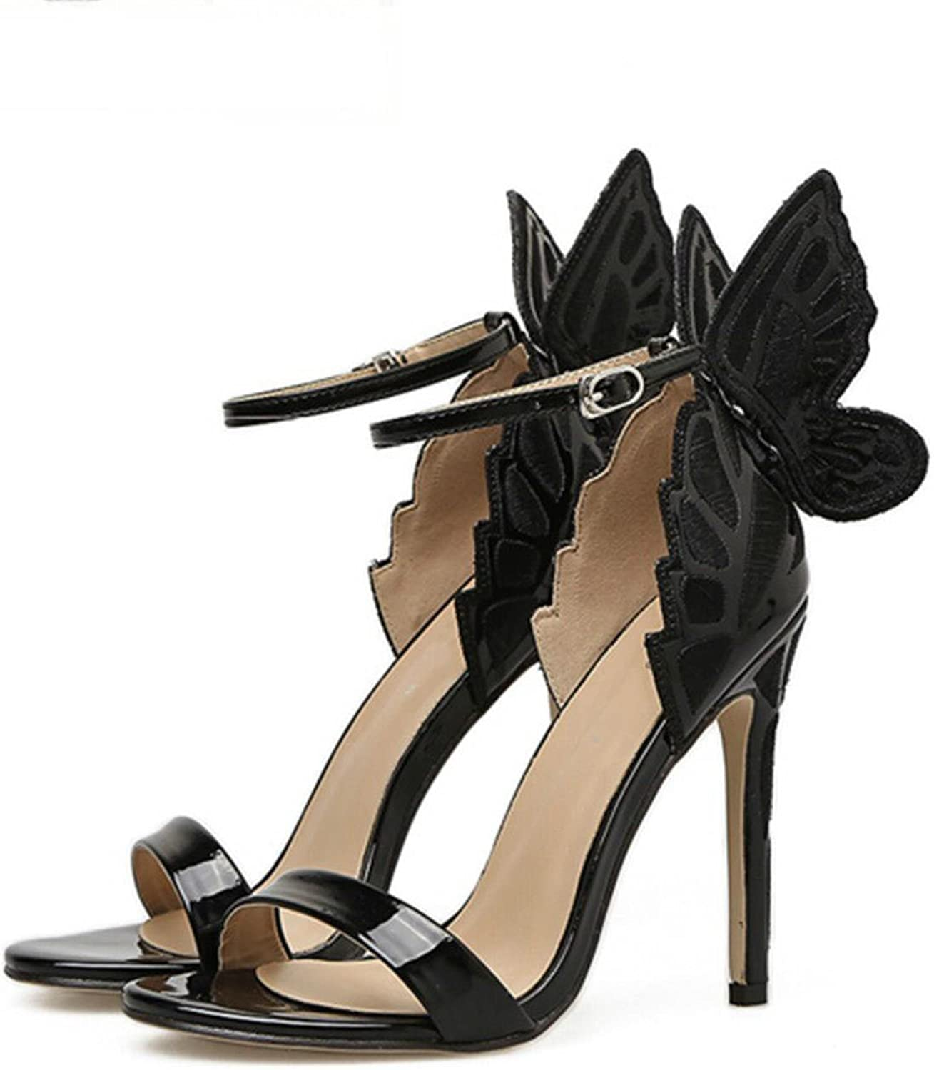 New shoes European sexy fashion Embroidered three-dimensional butterfly Fine with high-heeled sandals