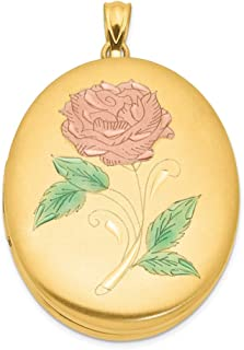 1/20 Gold Filled 34mm Enameled Flower Oval Photo Pendant Charm Locket Chain Necklace That Holds Pictures Fashion Jewelry Gifts For Women For Her