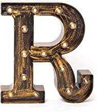 Glintee LED Marquee Letter Lights Vintage Style Light Up 26 Alphabet Letter Signs for Wedding Birthday Party Christmas Home Bar Cafe Initials Decor(R)