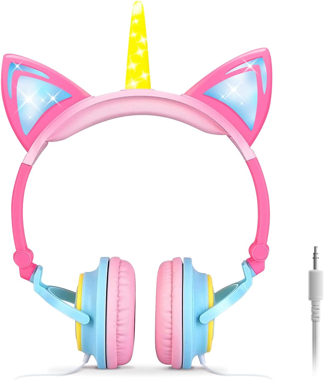 ONTA Kids Headphones,Unicorn Cat Ear Headphone LED Light Up Earphone Foldable Wired On-Ear Toddlers for Travel,Children/Boys/Girls Birthday Gifts,Superior Noise Isolation Ultra-Portable(Pink&Yellow)