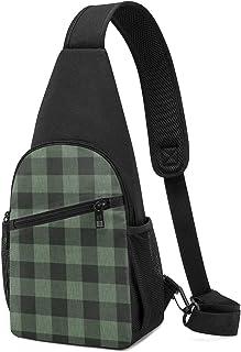 Bolso bandolera con textura de búfalo, color verde oscuro y negro, ligero para el hombro, mochila para el pecho, bolsa cru...