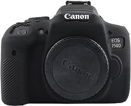 TUYUNG Camera Body Housing Case, Silicone Camera Case Protective Cover for Canon EOS 750D, Rebel T6i Digital Camera - Black