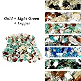 Skyflame 10-Pound Blended Fire Glass for Fire Pit Fireplace Landscaping - 1/2 Inch Reflective Tempered Fireglass Gold, Light Green, Copper