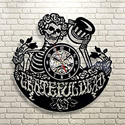 GEDASHU Vinyl Wall Clock Grateful Dead Art Vinyl Record Wall Clock Decor Home Design Creative Wall Clock Home Decor