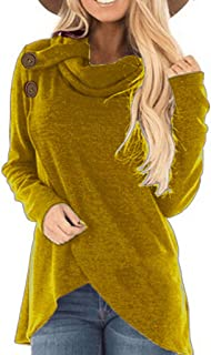 SEXYTOP Women Autumn Winter Asymmetric Cross Hem Sweatshirt Turtle Cowl Neck Wrap Pullover Chunky Button Solid Top Blouse