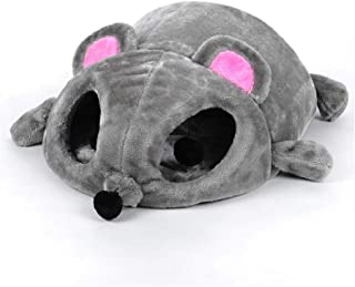 Cat Bed Grey Mouse Shape Small Cats Dogs Cave Bed Removable Cushion,Waterproof Bottom House Gift for Pet Fiber