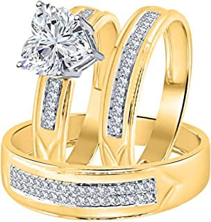 Heart Shaped 2.80cttw White CZ Diamond 14K Yellow Gold Over Sterling SilverWedding Ring Trio Bridal Set for Him & Her