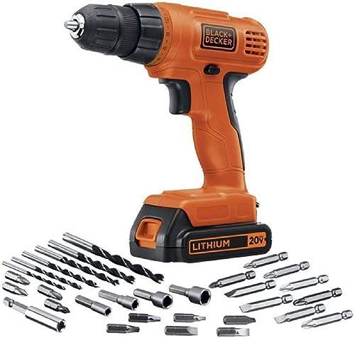 BLACK+DECKER 20V MAX Cordless Drill / Driver with 30-Piece Accessories (LD120VA) , Orange