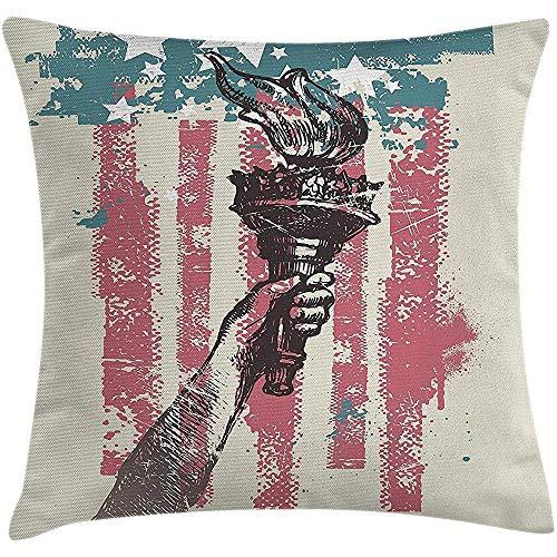 Funda de cojín de almohada decorativa de la bandera americana,letrero abstracto Patriot de EE. UU. 4 de julio Decoración del escudo de armas del país,funda de almohada decorativa cuadrada,45X45CM rosa