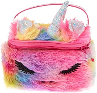 Claire's Girl's Furry Rainbow Unicorn Makeup Bag