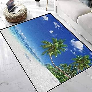 Ocean Farmhouse Style Area Rugs 3x4 ft Coastline Seascape Lagoon with Palm Leaf and Clouds Freedom Holiday Idyllic Machine Washable Carpet