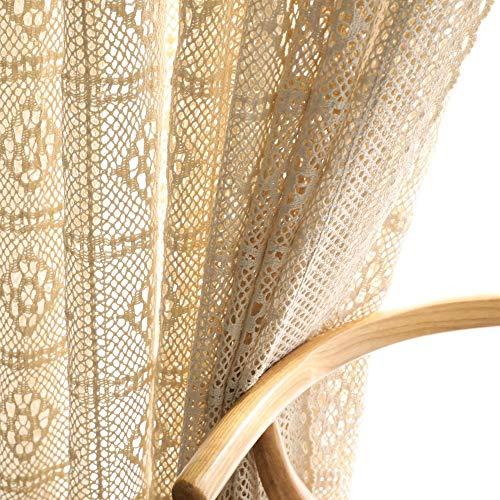 "1 Pair American Retro Beige Crochet Lace Hollow Crochet Flower Sheer Curtains for Bedroom Living Room (Beige,55""x78"")"