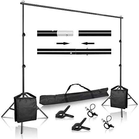 AW 8.5x10ft Backdrop Stand Photography Adjustable Background Support System with Carry Bag for Video Shooting Party