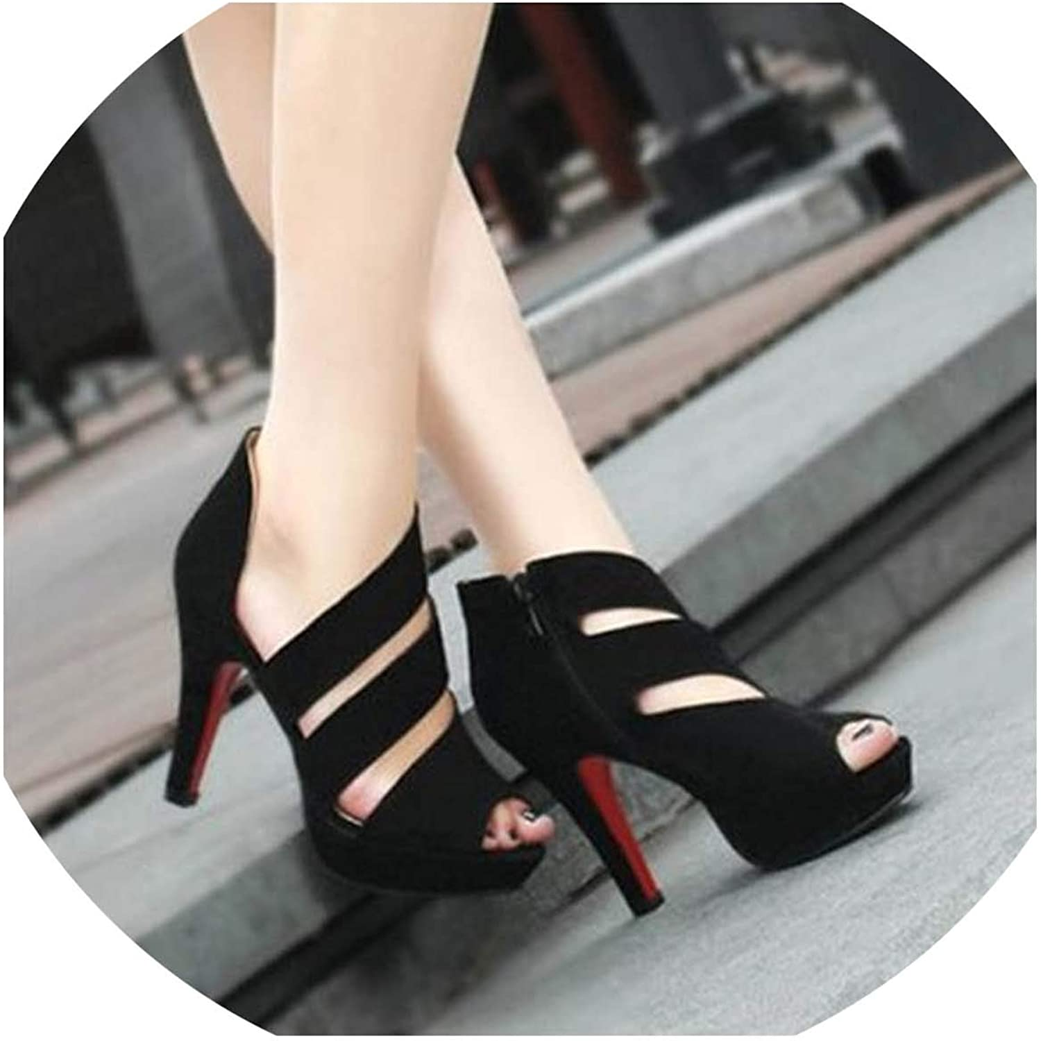 Women Sandals Sexy High Heel Elegant Flock Platform Buckle Strap Open Toe Pumps Party shoes