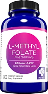 MD. Life L-Methylfolate 5 mg Active Folate 5 Mthfr Support Supplement Professional Strength Methyl Folate - Immune Support, Essential Amino Acids & Brain Supplement- Vegan 90 Purple Carrot Capsules