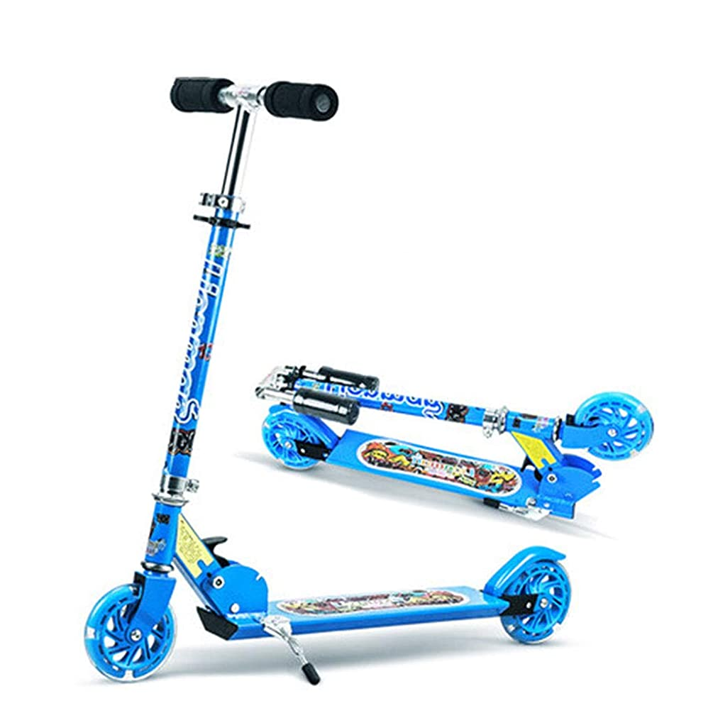 Kick Scooters Skates Skateboards Blue Children's Scooter Beautiful Children's Indoor Outdoor Bicycle Child Pedal Flash car Child's Transportation 3~15 Year Old Children's Scooter