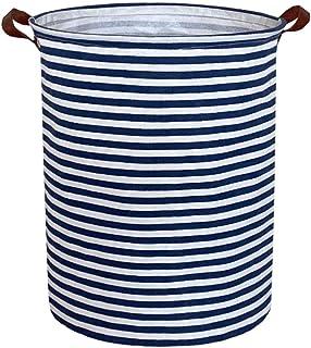 ESSME Aufbewahrungskörbe, Wäschekorb, zusammenklappbar, groß, mit wasserdichter PE-Beschichtung, Segeltuch-Stoff, für Spielzeug, Geschenk, Babykleidung marineblaue Streifen