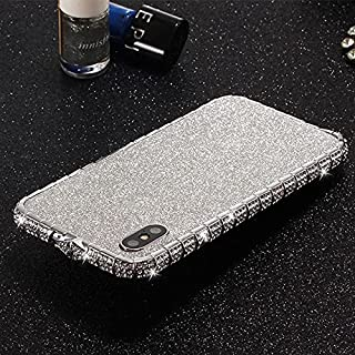 iPhone Xs Bumper Case for Women, iPhone X Case, DMaos Sparkly Diamond Metal Bumper with Front and Back Glitter Sticker, Pr...