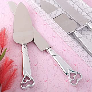 FASHIONCRAFT Silver Double Heart Wedding Cake Serving Set - Silver Wedding Cake Knife Set