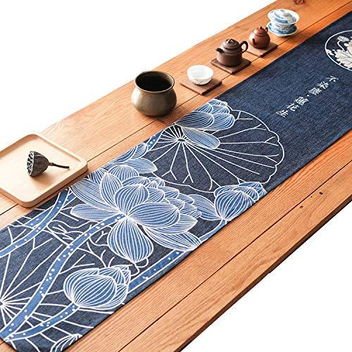 MONODY Camino de Mesa, Lino de impresión de Estilo japonés Lino algodón Larga Banda Mantel Toalla de Cola de Cama Lotus 35* 170cm