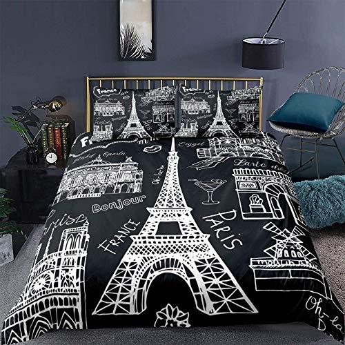 zzkds Conjuntos de Ropa de Cama de la Torre Eiffel Romantic VintageWhite ParisChic Funda de edredón 3 Piezas AtiveFundanórdicaromántica yPaisaje UrbanoCompleto