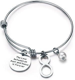 CJ&M Aunt Niece Bracelet Bangle Bracelet - Aunt Jewelry- Bracelets for Aunts and Nieces-Gift for Special Aunt & Niece