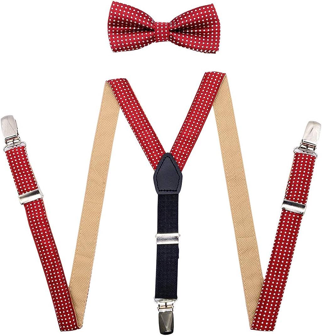 MENDENG Elastic Polka Dot Suspenders Bow Tie Set For Kids Boys Wedding Formal