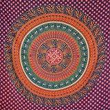 MOMOMUS Tapiz de Mandala - Hecho a Mano con Algodón 100% y Tintes Vegetales Naturales - Adornos de Arte para Pared de Hogar, Pareo/Toalla de Playa Grande, Sofá (Azul-Naranja, 210x230 cm)